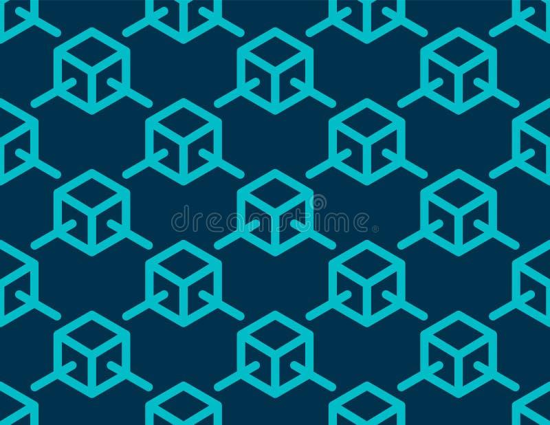 Blockchain concept with Blue block link to block texture background vector design vector illustration