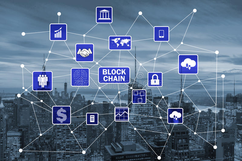 The blockchain concept in database management royalty free stock photos