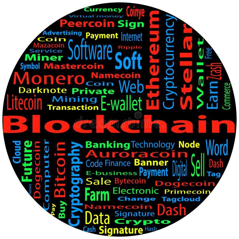 Blockchain, concept de nuage de mot sur le fond noir illustration libre de droits