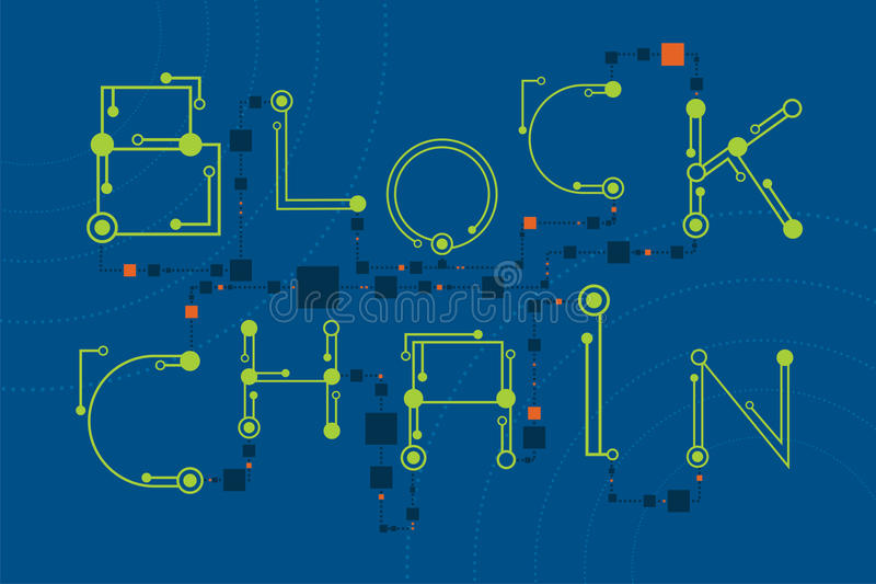 Blockchain concept with digital and electronics font style. vector illustration