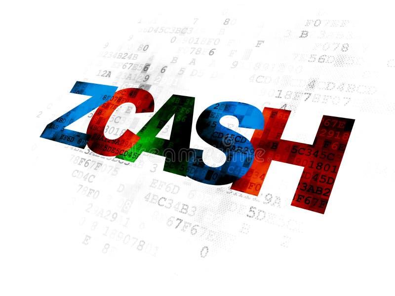Blockchain concept: Zcash on Digital background. Blockchain concept: Pixelated multicolor text Zcash on Digital background stock illustration