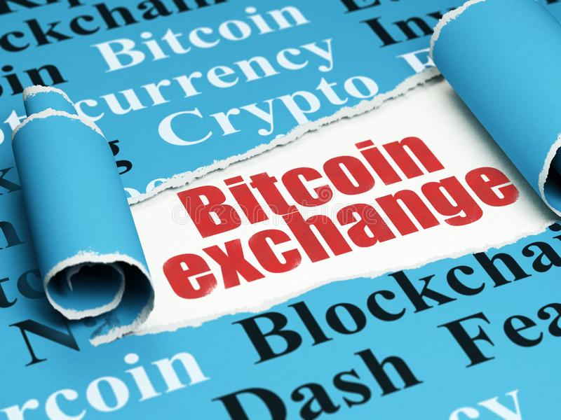 Blockchain concept: red text Bitcoin Exchange under the piece of torn paper. Blockchain concept: red text Bitcoin Exchange under the curled piece of Blue torn vector illustration