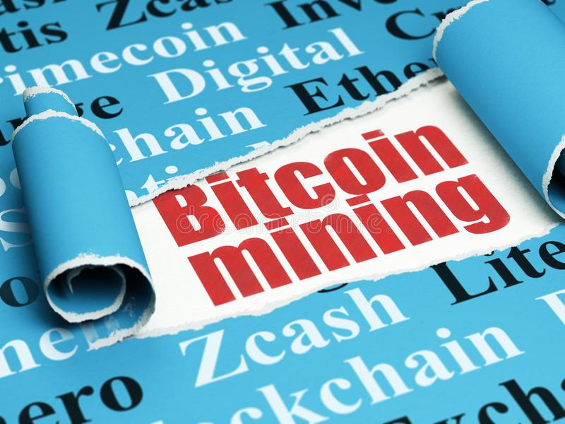 Blockchain concept: red text Bitcoin Mining under the piece of torn paper. Blockchain concept: red text Bitcoin Mining under the curled piece of Blue torn paper stock illustration