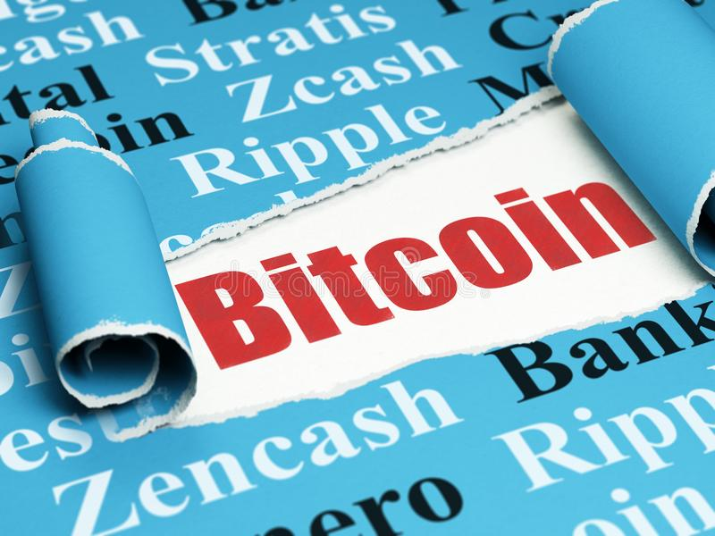 Blockchain concept: red text Bitcoin under the piece of torn paper. Blockchain concept: red text Bitcoin under the curled piece of Blue torn paper with Tag Cloud vector illustration