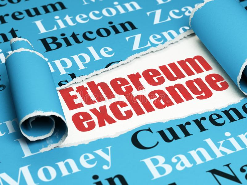 Blockchain concept: red text Ethereum Exchange under the piece of torn paper. Blockchain concept: red text Ethereum Exchange under the curled piece of Blue torn vector illustration