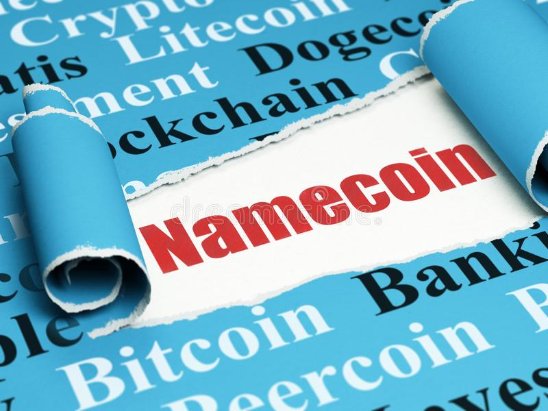 Blockchain concept: red text Namecoin under the piece of torn paper. Blockchain concept: red text Namecoin under the curled piece of Blue torn paper with Tag royalty free illustration