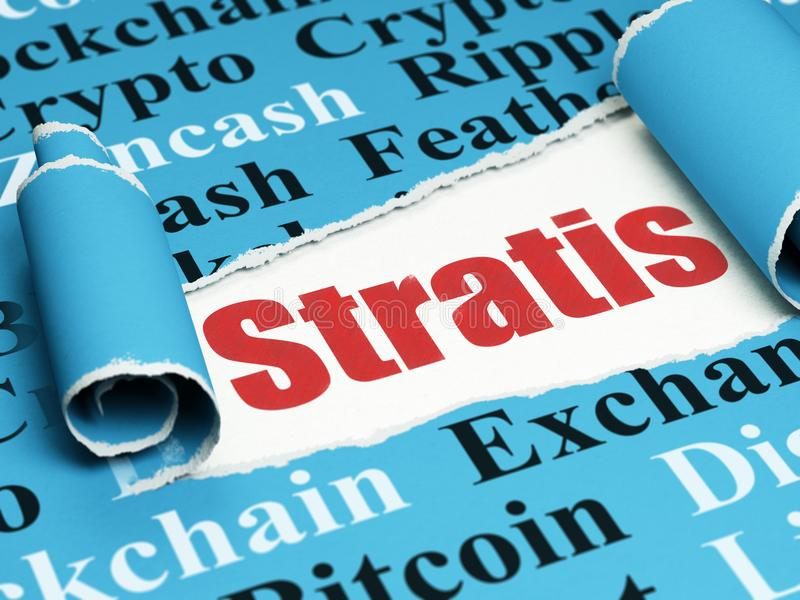 Blockchain concept: red text Stratis under the piece of torn paper. Blockchain concept: red text Stratis under the curled piece of Blue torn paper with Tag Cloud stock illustration