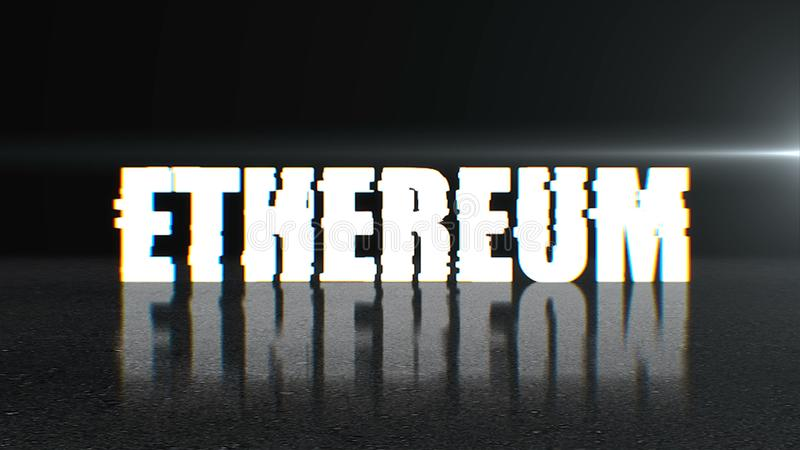 Blockchain concept, stylish ethereum text on surface with reflection, 3d rendering background. Blockchain concept, stylish ethereum text on surface with stock illustration
