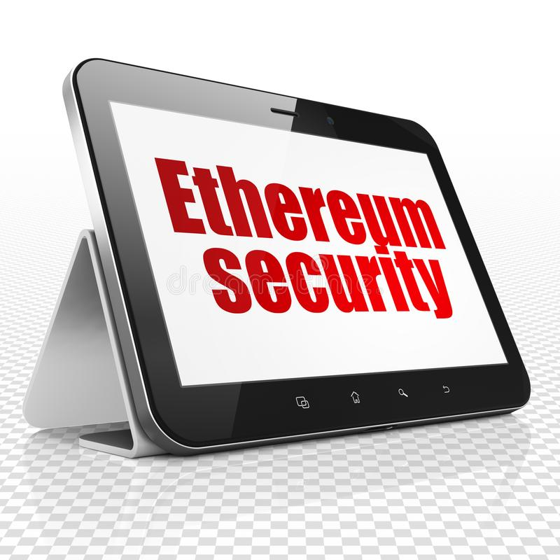 Blockchain concept: Tablet Computer with Ethereum Security on display. Blockchain concept: Tablet Computer with red text Ethereum Security on display, 3D stock illustration