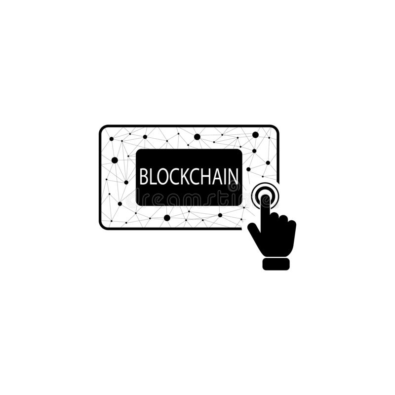 Blockchain concept on touch screen icon. Element of touch screen technology icon. Premium quality graphic design icon. Signs and s. Ymbols collection icon for vector illustration