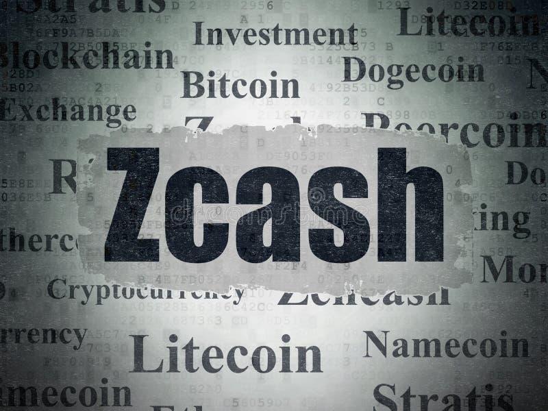 Blockchain concept: Zcash on Digital Data Paper background. Blockchain concept: Painted black text Zcash on Digital Data Paper background with Tag Cloud vector illustration