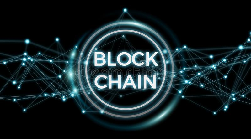 Blockchain connection background 3D rendering stock illustration