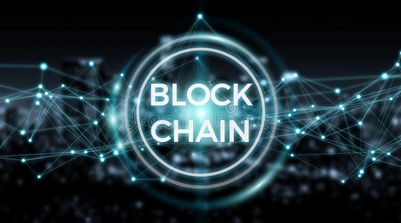 Blockchain connection background 3D rendering royalty free illustration