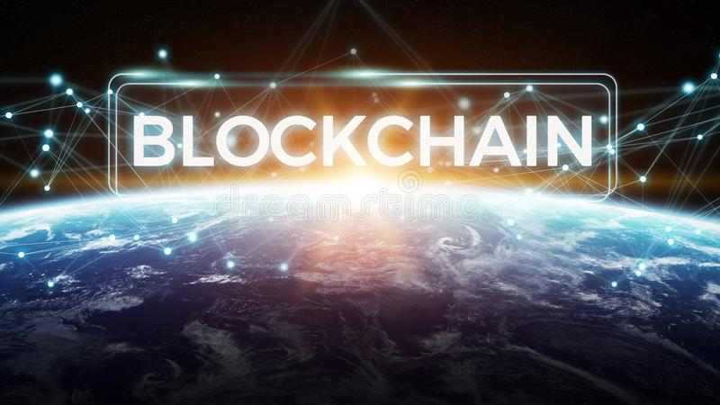 Blockchain on planet Earth 3D rendering royalty free illustration