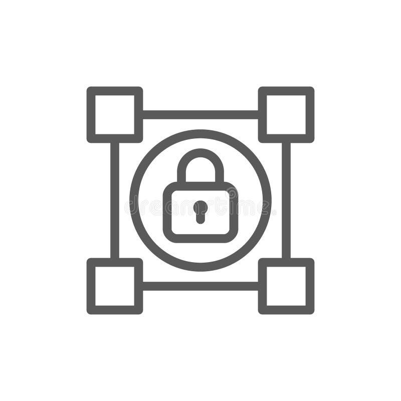 Blockchain cripto com fechamento, linha ícone do cryptocurrency ilustração do vetor