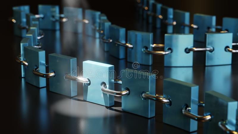 Blockchain Crypto Currency. 3D rendering representing a blockchain with a bright spotlight on a single block, colors: blue teal metallic, metal links stock illustration
