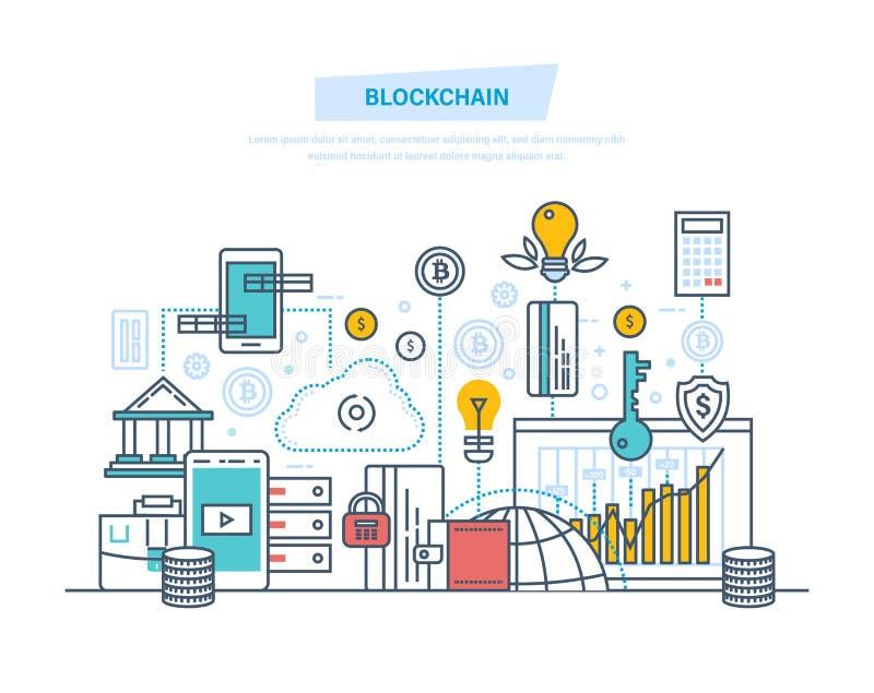 Blockchain crypto valuta, system av pengaromsättningen, säkra transaktioner, bitcoins vektor illustrationer