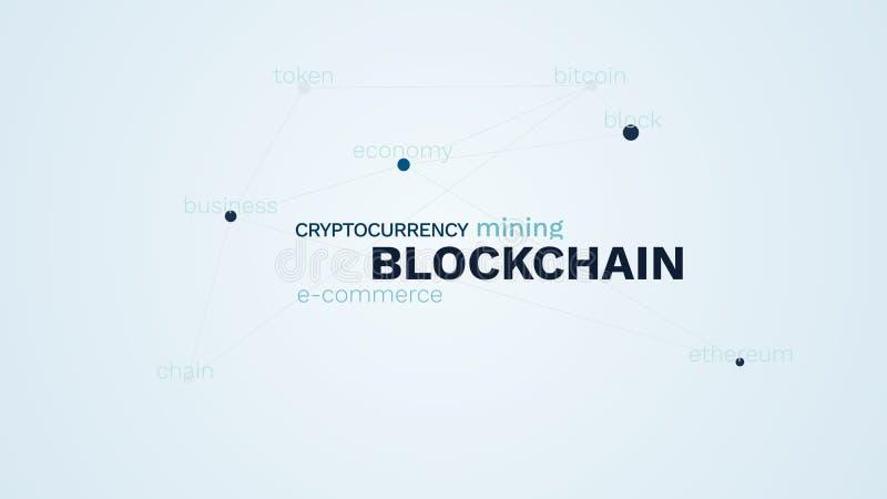 Blockchain cryptocurrency电子商务采矿bitcoin块经济ethereum企业链子象征性的生气蓬勃的词云彩 皇族释放例证