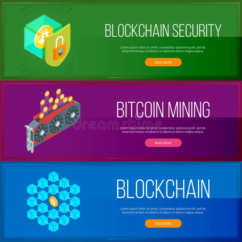Blockchain and cryptocurrency banners set royalty free illustration