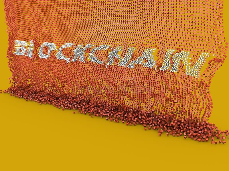 Blockchain, cryptocurrency, base de datos distribuida stock de ilustración