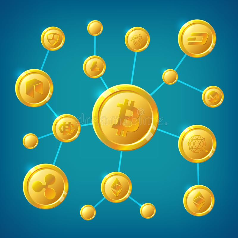 Blockchain, cryptocurrency and bitcoin decentralization anonymous internet transaction vector concept. Illustration of process transaction cryptocurrency royalty free illustration