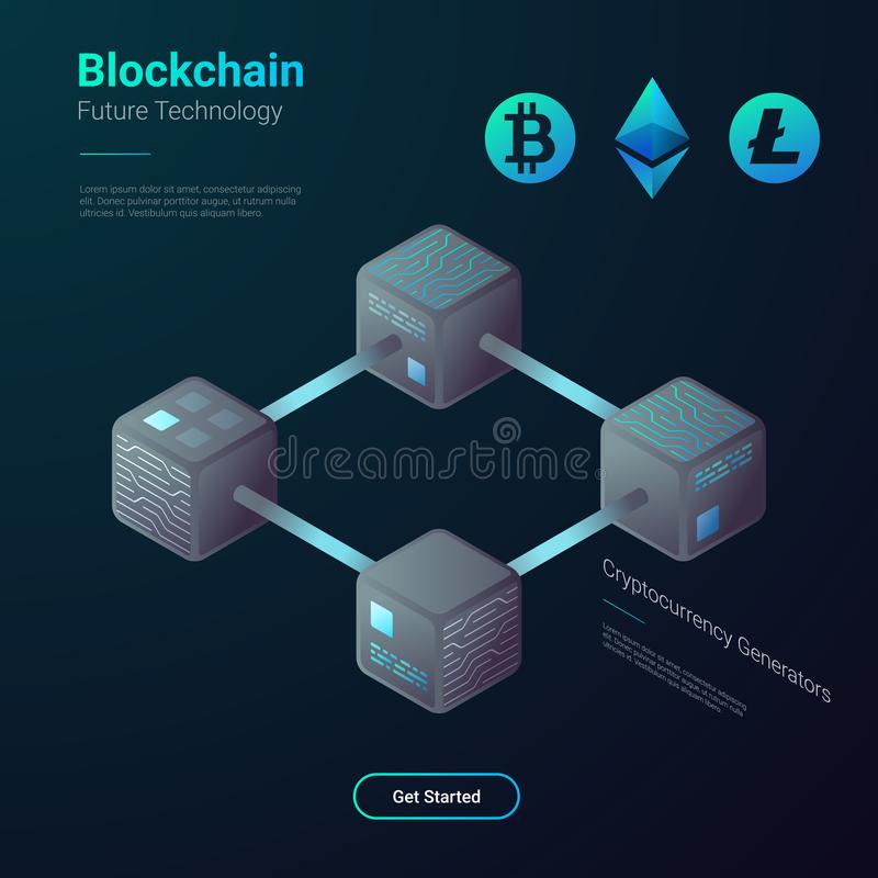 Blockchain Cryptocurrency Bitcoin isometrisk vektor vektor illustrationer