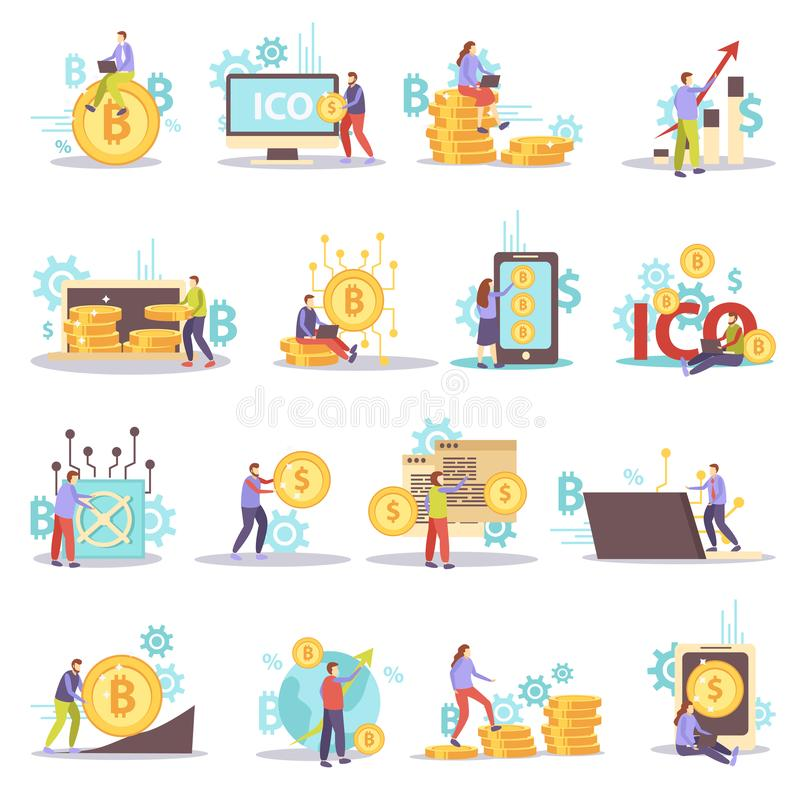 Cryptocurrency Flat Icons Set royalty free illustration