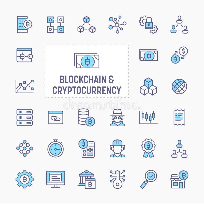 Blockchain & Cryptocurrency Icon Set vector illustration