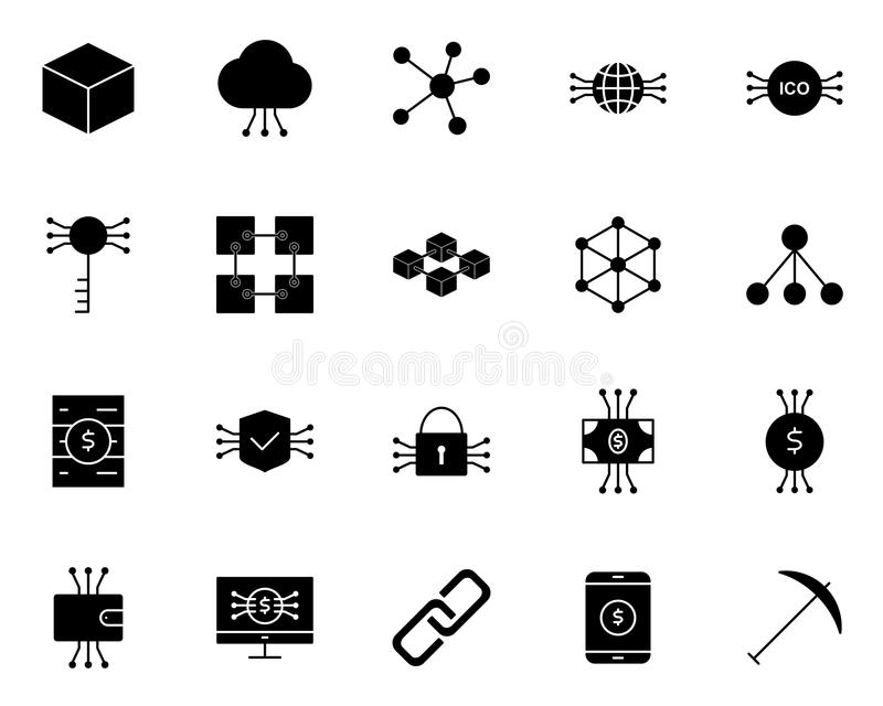 Blockchain, Cryptocurrency Icons Set. Vector Simple Minimal 96x96 Pictograms stock illustration