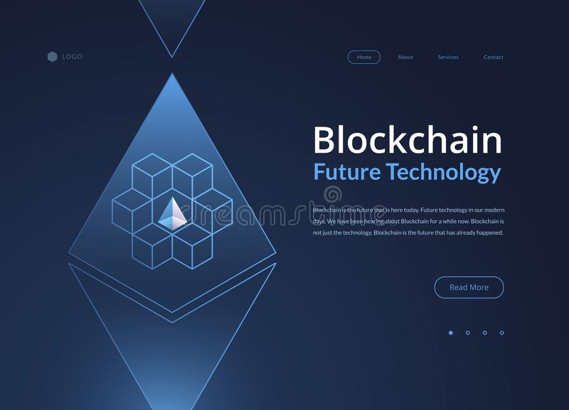 Blockchain cryptocurrency isometric 3d composition - vector crypto currency start up illustration royalty free illustration