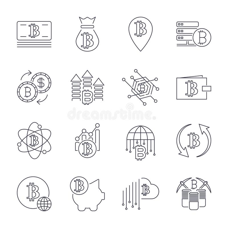 Blockchain cryptocurrency line icon set included the icons as e wallet digital block money. Editable Stroke. vector illustration