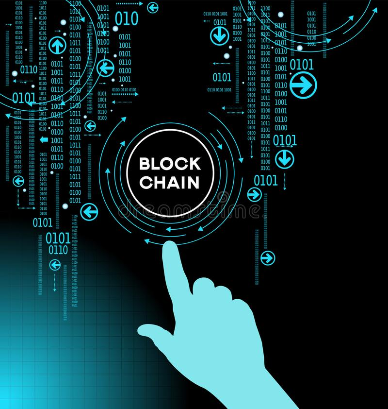 Blockchain cryptocurrency template. Blockchain network concept , Distributed ledger technology , Block chain text and computer connection. The file is saved in stock illustration