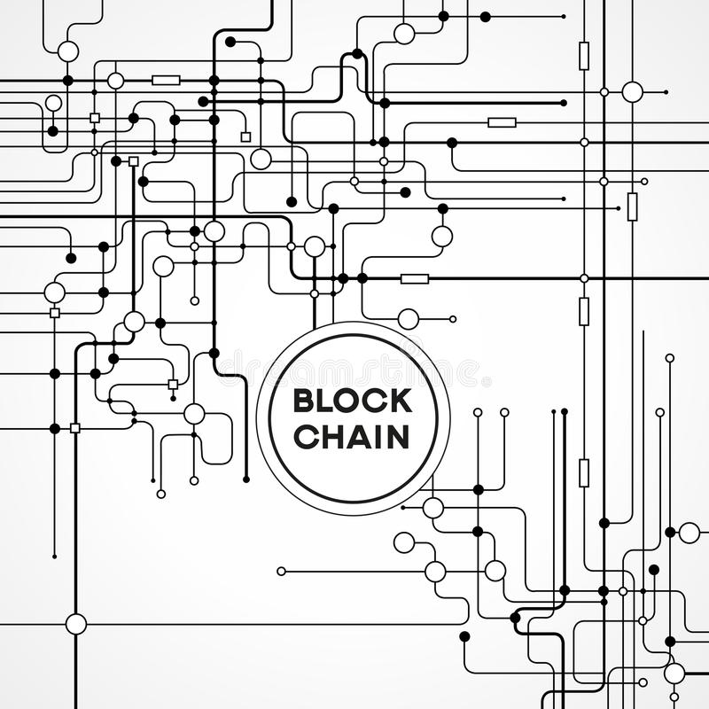 Blockchain cryptocurrency template. Blockchain network concept , Distributed ledger technology , Block chain text and computer connection. The file is saved in vector illustration