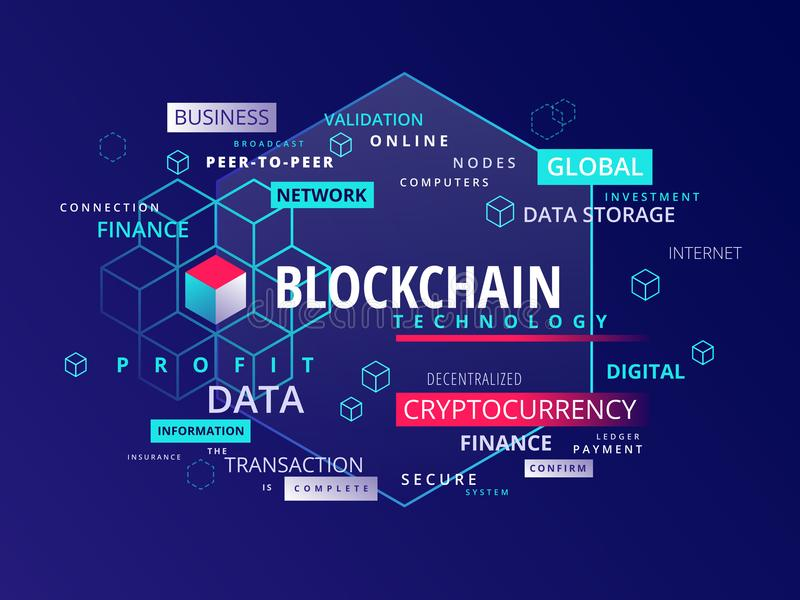 Blockchain cryptocurrency text infographics - vector illustration vector illustration