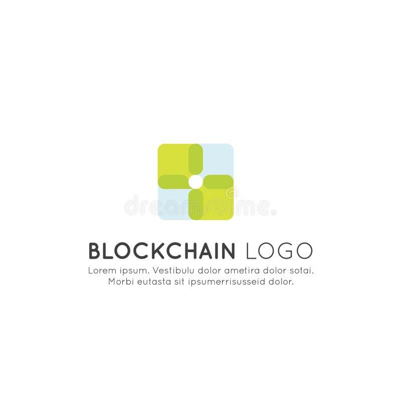 Blockchain Cryptocurrency utbyte, köpande och sälja, växande fortlöpande lista av rekordbegreppet stock illustrationer