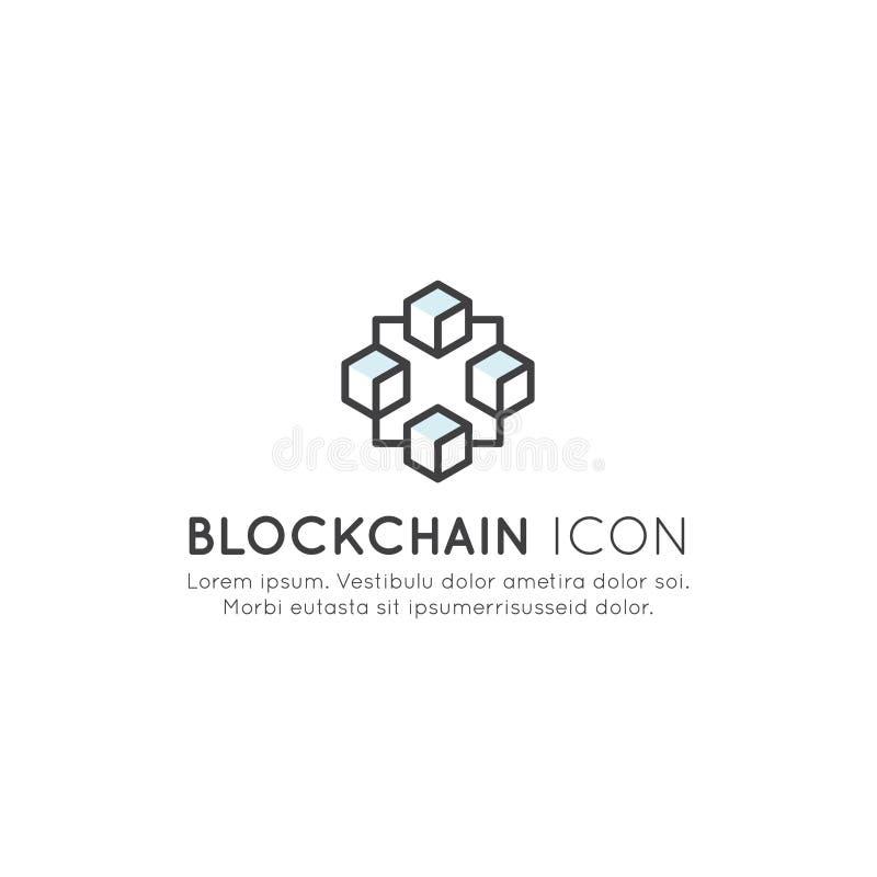 Blockchain Cryptocurrency utbyte, köpande och sälja, växande fortlöpande lista av rekordbegreppet vektor illustrationer