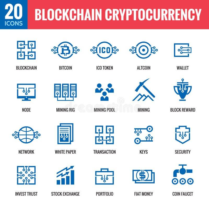 Blockchain cryptocurrency - 20 vektorsymboler Modern uppsättning för tecken för datornätteknologi Digital grafiska symboler Bitco stock illustrationer
