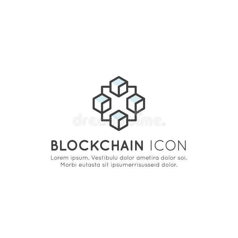 Blockchain Cryptocurrency wymiana, kupienie i sprzedawanie Stale R listę rejestru pojęcie, ilustracja wektor