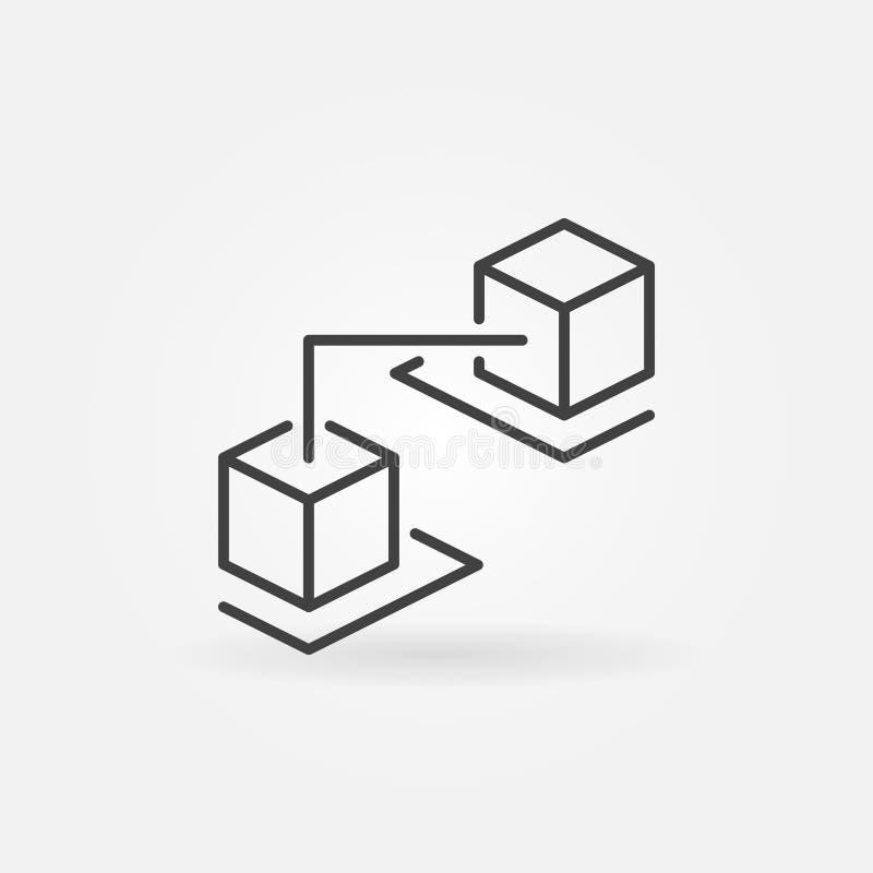 Blockchain cuba la linea icona Segno di vettore di tecnologia di Blockchain illustrazione di stock