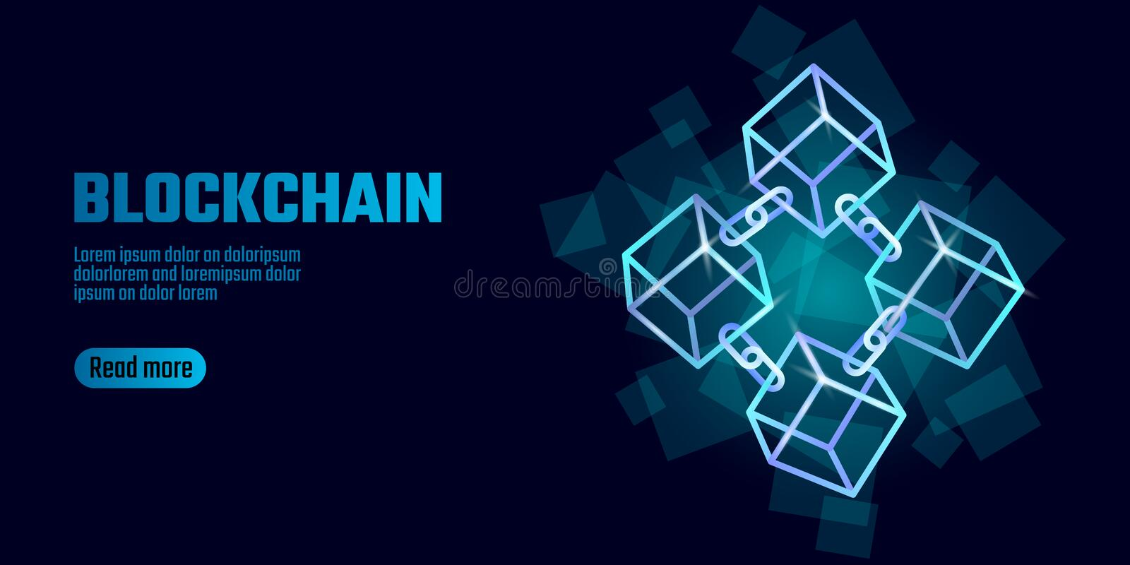 Blockchain cube chain symbol on square code big data flow information. Blue neon glowing modern trend. Cryptocurrency royalty free illustration