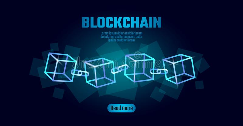 Blockchain cube chain symbol on square code big data flow information. Blue neon glowing modern trend. Cryptocurrency vector illustration