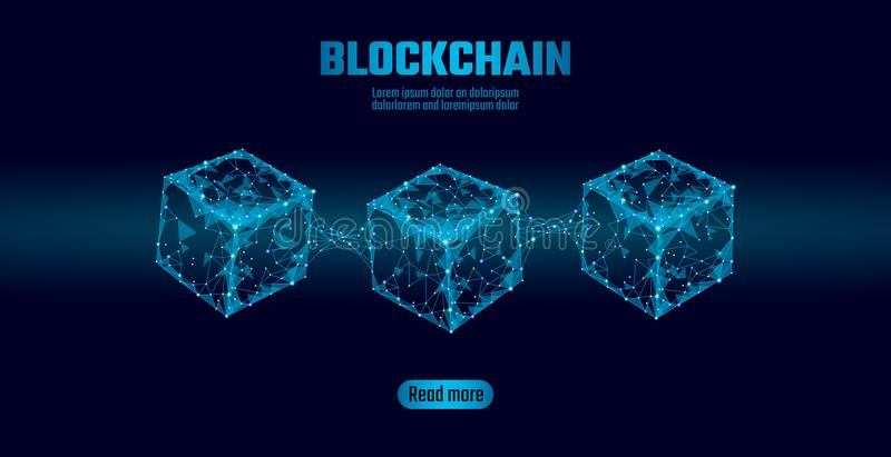 Blockchain cube chain symbol on square code big data flow information. Blue neon glowing modern trend. Cryptocurrency stock illustration