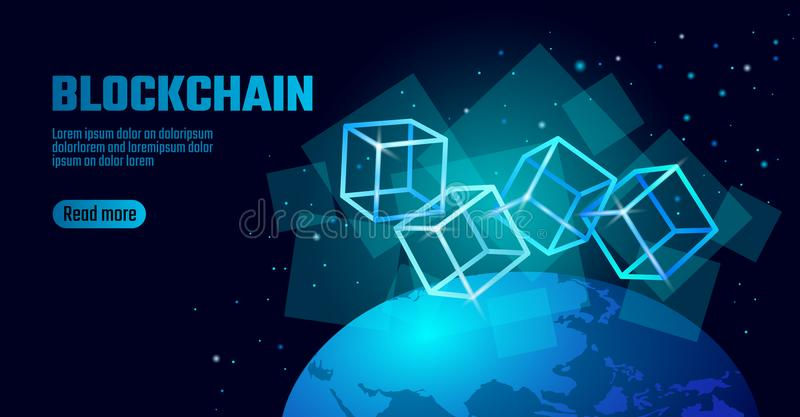 Blockchain cube chain symbol on square code big data flow information. Blue neon glowing planet Earth globe vector illustration