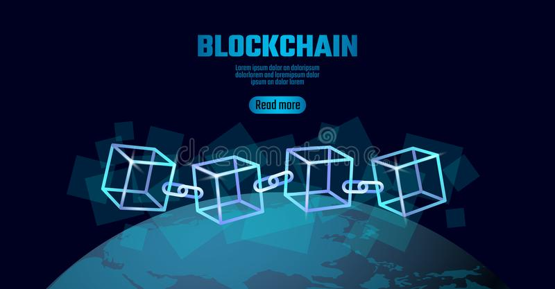 Blockchain cube chain symbol on square code big data flow information. Blue neon glowing planet Earth globe royalty free illustration