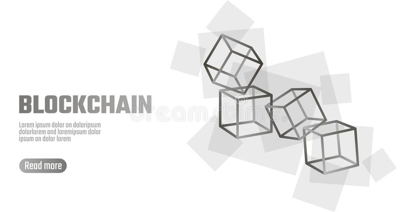 Blockchain cube chain symbol on square code big data flow information. Gray white neutral presentation style. Cryptocurrency finance bitcoin business vector royalty free illustration