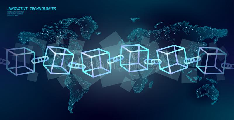 Blockchain cube chain symbol square code. Big data international flow. Blue neon glowing planet Earth map stock illustration