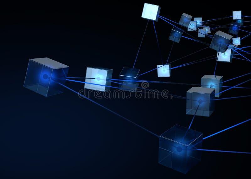 Blockchain datanätverk stock illustrationer
