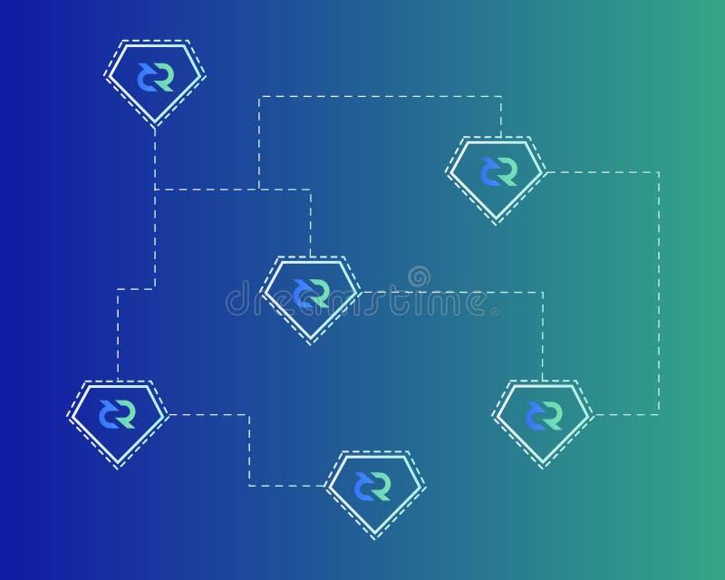 Blockchain Decred Symbol Network Theme Background Stock Vector