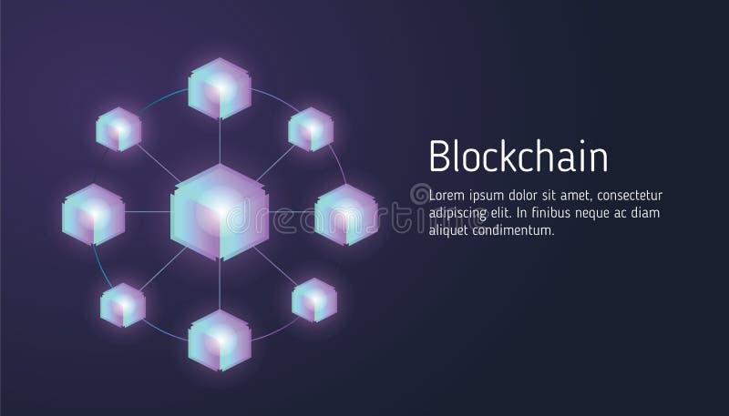 Blockchain del concepto de diseño y tecnología planos del cryptocurrency Composición para la bandera del sitio web del diseño de  stock de ilustración