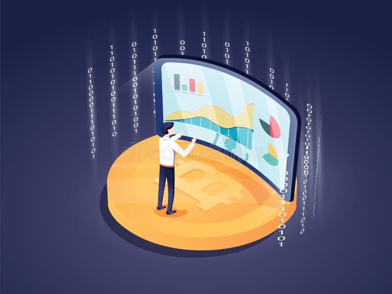 Blockchain del concepto de diseño y tecnología planos del cryptocurrency Composición para la bandera del sitio web del diseño de  libre illustration